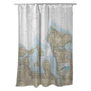 Oyster Bay, NY Nautical Chart Shower Curtain