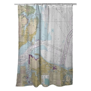 Hampton, Norfolk, VA Nautical Chart Shower Curtain
