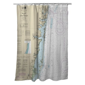Sea Girt To Barnegat Inlet, NJ Nautical Chart Shower Curtain