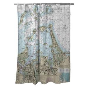 North Weymouth, Hingham, Hull, MA Nautical Chart Shower Curtain