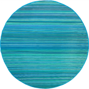 Cancun - Turquoise & Moss Green Indoor Outdoor 8' Round Rug