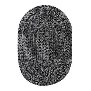 "Homespice Decor 27"" x 45"" Oval Black Ultra Durable Braided Rug"