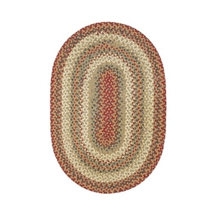 "Homespice Decor 20"" x 30"" Oval Pumpkin Pie Cotton Braided Rug"