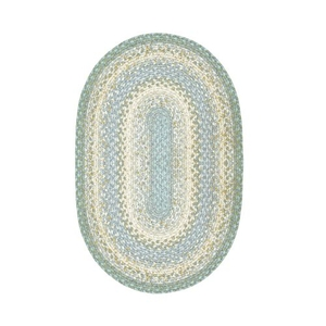 "Homespice Decor 20"" x 30"" Oval Baja Blue Cotton Braided Rug"
