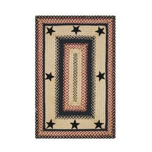 Homespice Decor 5' x 8' Rect. Primitive Star Gloucester Jute Braided Rug