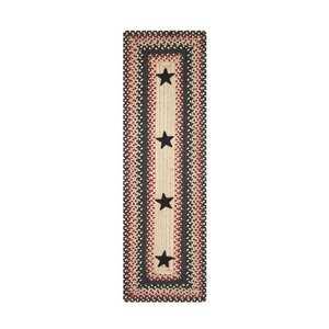 "Homespice Decor 8"" x 28"" Stair Tread Rect. Primitive Star Gloucester Jute Braided Accessories"