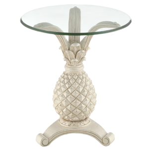 Antique Pineapple Glass Top Accent Table, Distressed White