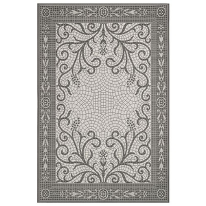 "Liora Manne Carmel Mosaic Indoor/Outdoor Rug Grey 4'10""x7'6"""