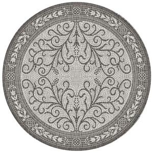 "Liora Manne Carmel Mosaic Indoor/Outdoor Rug Grey 7'10"" RD"
