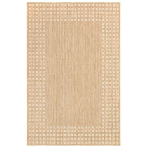 """Liora Manne Carmel Gingham Border Indoor/Outdoor Rug Sand 39""""x59"""""""