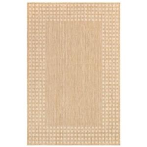 """Liora Manne Carmel Gingham Border Indoor/Outdoor Rug Sand 7'10""""x9'10"""""""