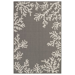 "Liora Manne Carmel Coral Border Indoor/Outdoor Rug Grey 6'6""x9'4"""