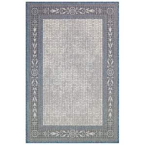 "Liora Manne Carmel Ancient Border Indoor/Outdoor Rug Ivory/navy 6'6""x9'4"""