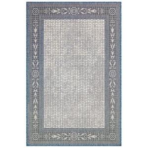 "Liora Manne Carmel Ancient Border Indoor/Outdoor Rug Ivory/navy 7'10""x9'10"""