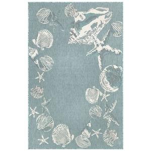"Liora Manne Carmel Seashell Border Indoor/Outdoor Rug Aqua 6'6""x9'4"""