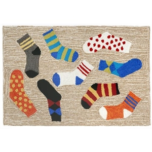 "Liora Manne Frontporch Lost Socks Indoor/Outdoor Rug Multi 24""x36"""