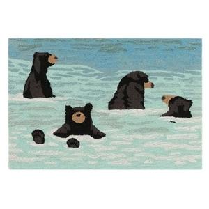"Liora Manne Frontporch Bathing Bears Indoor/Outdoor Rug Water 24""x36"""