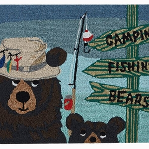 "Liora Manne Frontporch Fishing Bears Indoor/Outdoor Rug Green 30""x48"""