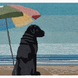 "Liora Manne Frontporch Parasol And Pup Indoor/Outdoor Rug Multi 30""x48"""