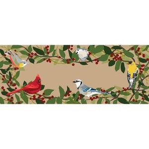 """Liora Manne Frontporch Bird Border Indoor/Outdoor Rug Natural 24""""x60"""""""