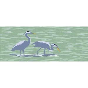 """Liora Manne Frontporch Blue Heron Indoor/Outdoor Rug Lake 24""""x60"""""""