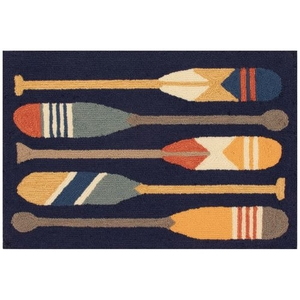 "Liora Manne Frontporch Paddles Indoor/Outdoor Rug Navy 20""x30"""