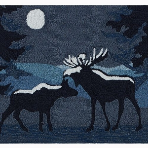 "Liora Manne Frontporch Moonlit Moose Indoor/Outdoor Rug Night 24""x36"""