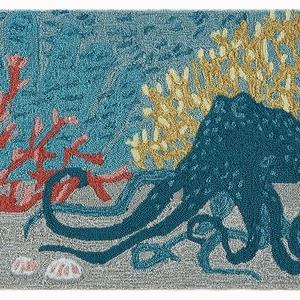 """Liora Manne Frontporch Octopus Indoor/Outdoor Rug Ocean 30""""x48"""""""