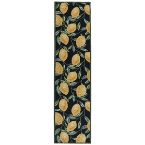 "Liora Manne Ravella Lemon Indoor/Outdoor Rug Black 24""x8'"