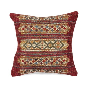 """Liora Manne Marina Tribal Stripe Indoor/Outdoor Pillow Red 18"""" Square"""