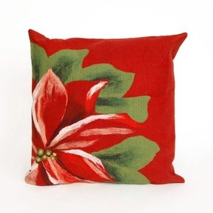"Liora Manne Visions II Poinsettia Indoor/Outdoor Pillow Red 20"" Square"