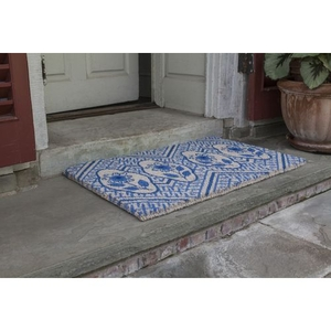 WILLIAMSBURG Delft Flowers Handwoven Coconut Fiber Doormat