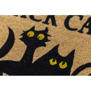 Black Cats Coir Doormat with Backing
