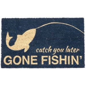 Gone Fishin' Coir Doormat with Backing