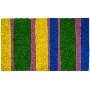 Bands of Color Coir Doormat with Backing