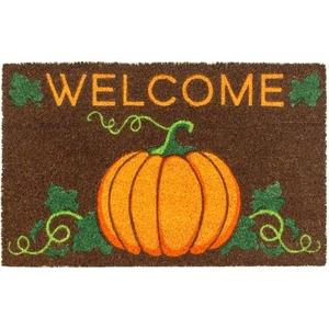 Welcome Pumpkin Coir Doormat with Backing