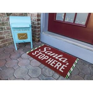 Santa Stop Here Coir Doormat with Backing