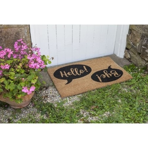 Hello Bye Coir Doormat with Backing