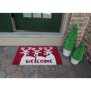 Reindeer Welcome Coir Doormat with Backing