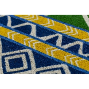 Blue Tribal Coir Doormat with Backing