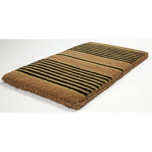 Ticking Stripes Black Extra - Thick Handwoven Coconut Fiber Doormat