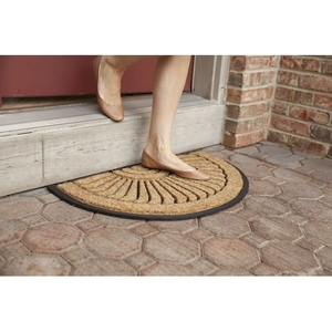 Shell Half Round Recycled Rubber and Coir Doormat