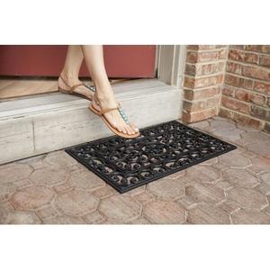 Fleur de Lis Recycled Rubber Doormat