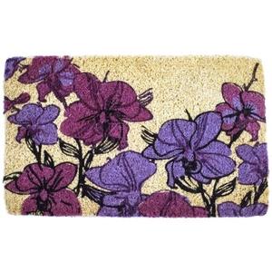 Hand Drawn Orchids Handwoven Coconut Fiber Doormat