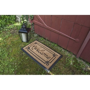 Welcome with Border Recycled Rubber and Coir Doormat