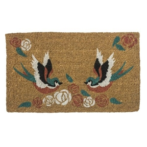 Swallows Tattoo Handwoven Coconut Fiber Doormat