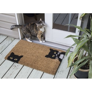 Peeping Cats Handwoven Coconut Fiber Doormat