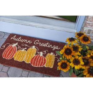 Autumn Greetings Handwoven Coconut Fiber Doormat