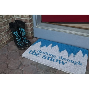 Dashing Through the Snow Handwoven Coconut Fiber Doormat