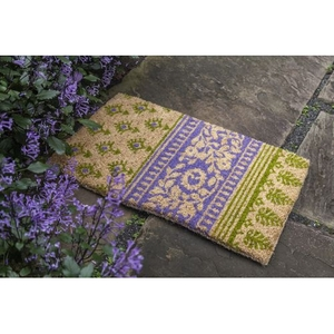 Olive and Lilac Handwoven Coconut Fiber Doormat